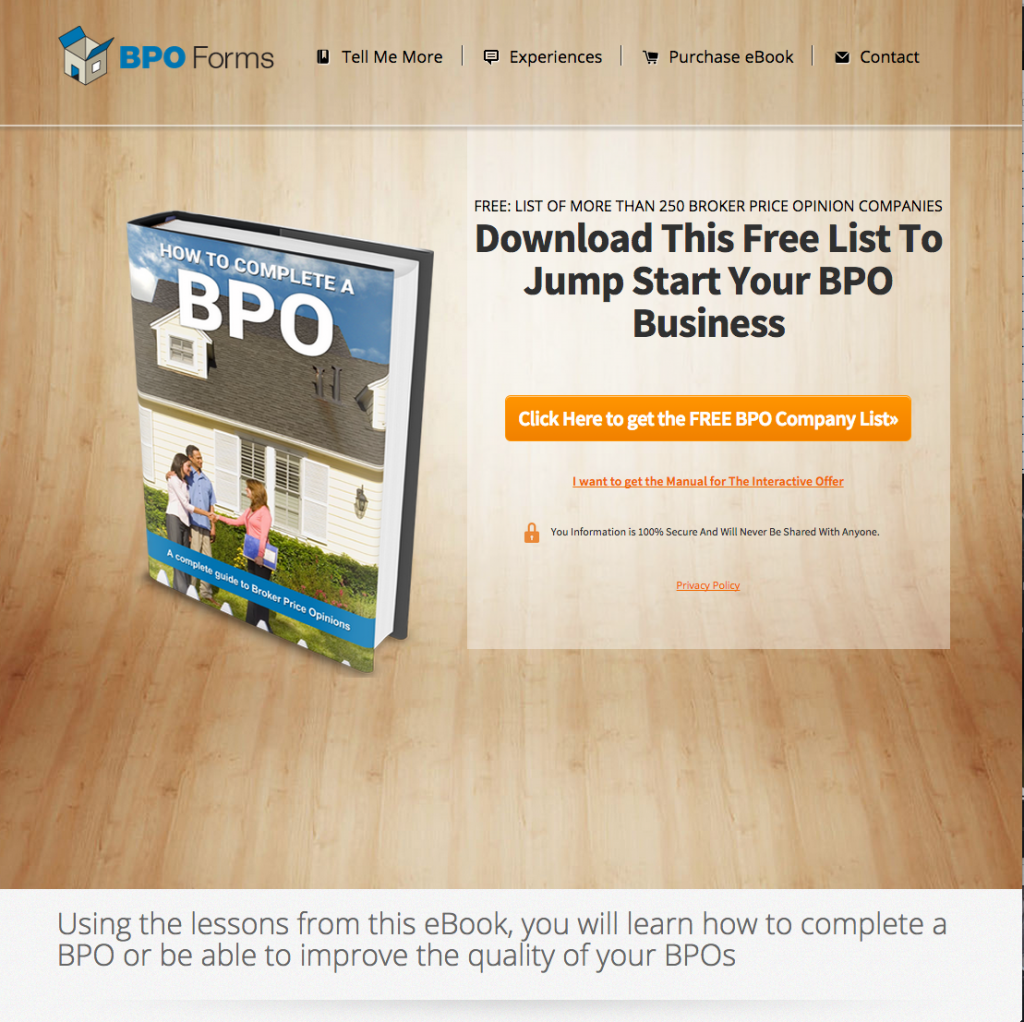 Our first online course - bpo lead page