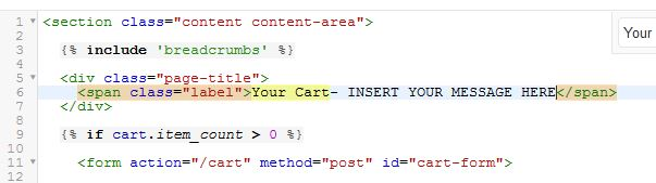 Inserting message on shopping cart page
