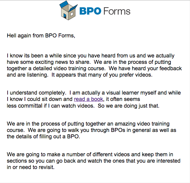 Our first online course - bpo email