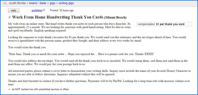 craigslist post to write simple thank you note
