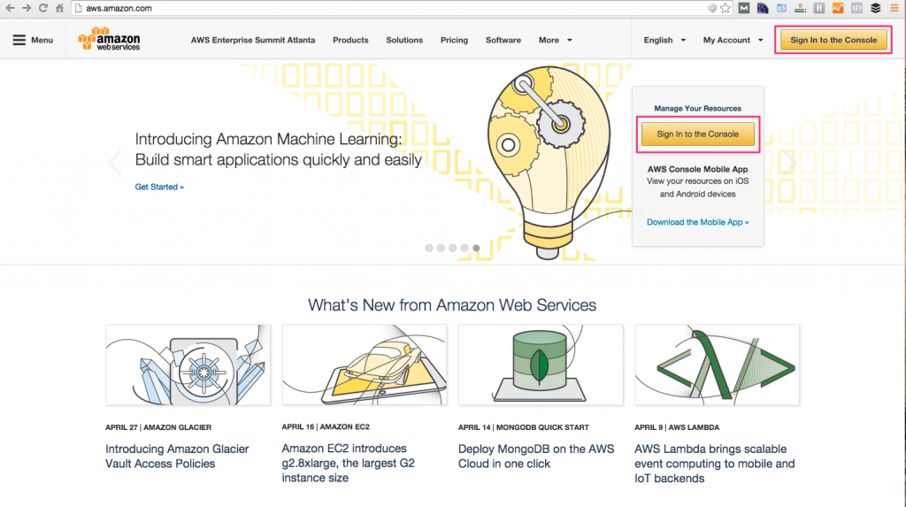 AWS Signup Page