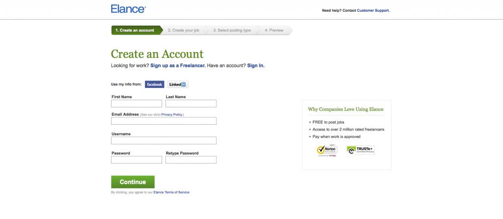 Elance client registration