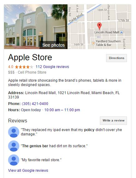 Knowledge Graph Google Local Information