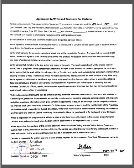 Executed Agreement to Translate Book to Spanish