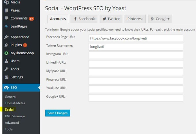 Knowledge Graph Social Links In WordPress