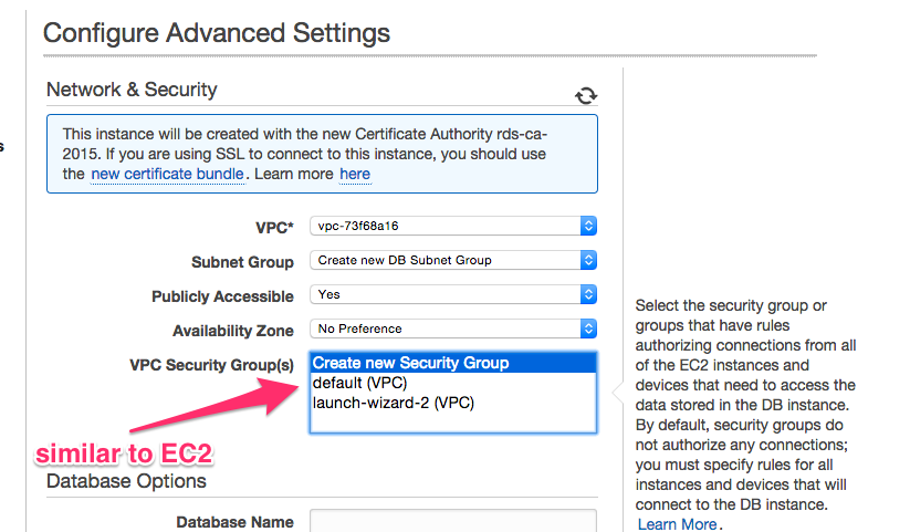 Amazon RDS Security Group Selection