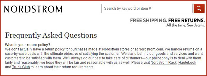 return policy template nordstrom