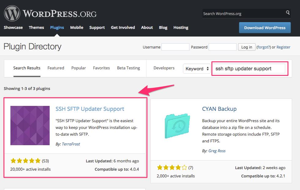 Wordpress plugin ssh sftp updater support