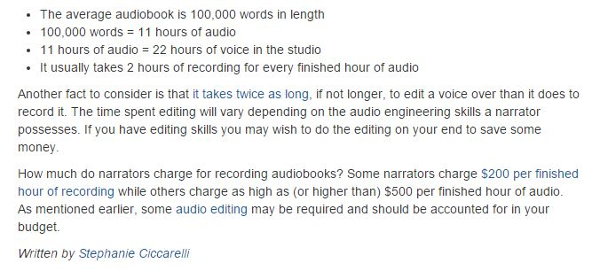 Budgeting for how to make an audio book