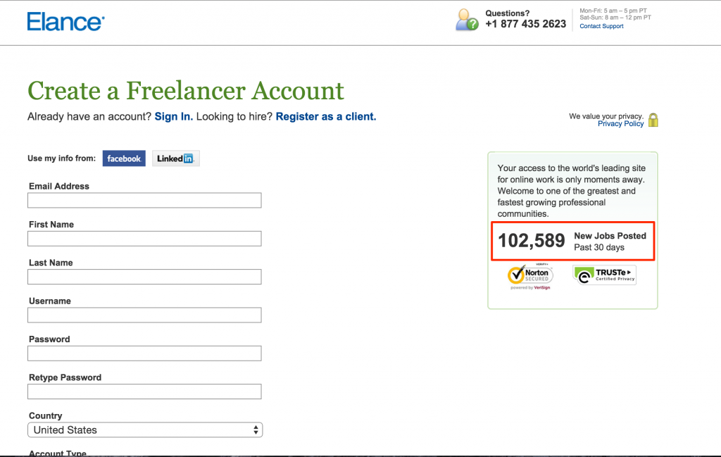 Elance registration as a freelancer
