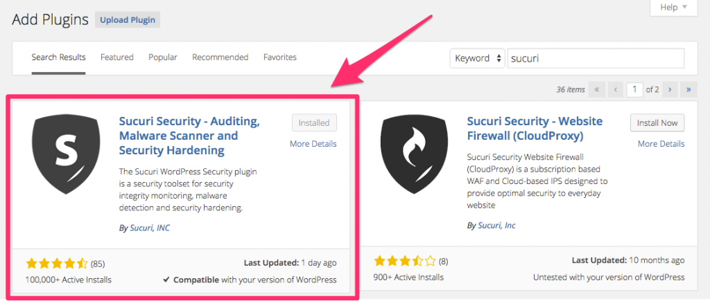 Install Sucuri to Secure WordPress