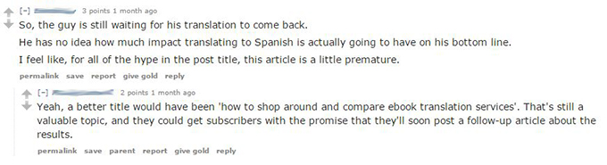 Response from reddit on my book in spanish