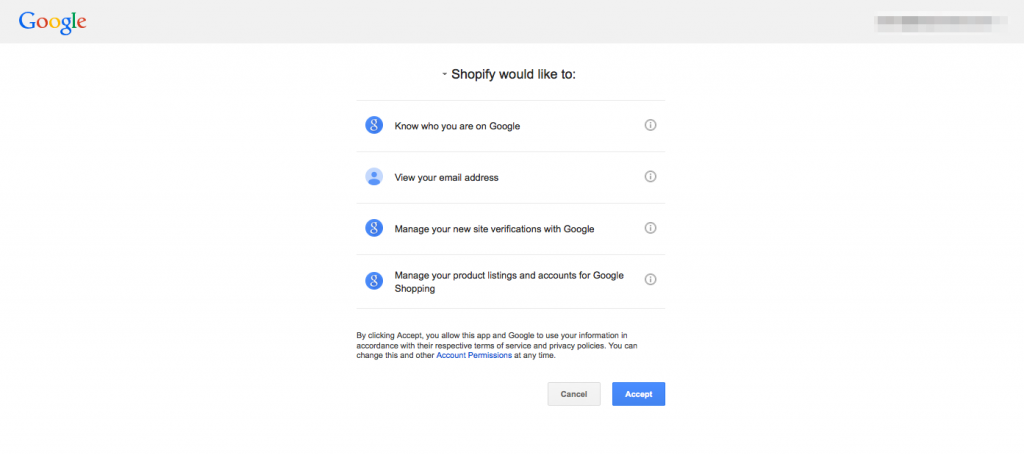 Google Shopify application permission