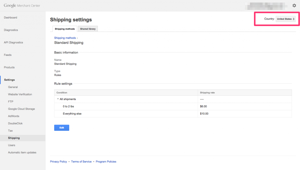 Google merchant center shipping settings