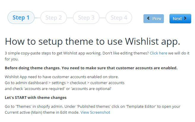 First step installing wishlist on shopify site