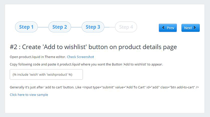 Second step to install a wishlist on a Shopify site