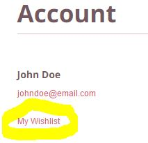 Link to wishlist added in account