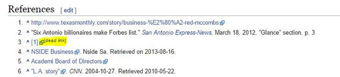 dead link on wikipedia