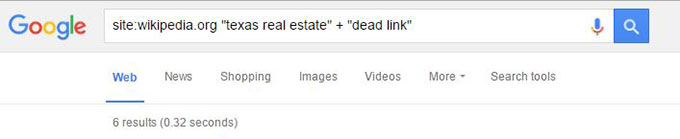 search on google for dead link backlink