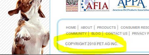 copyright in the footer outdated on ecommerce site